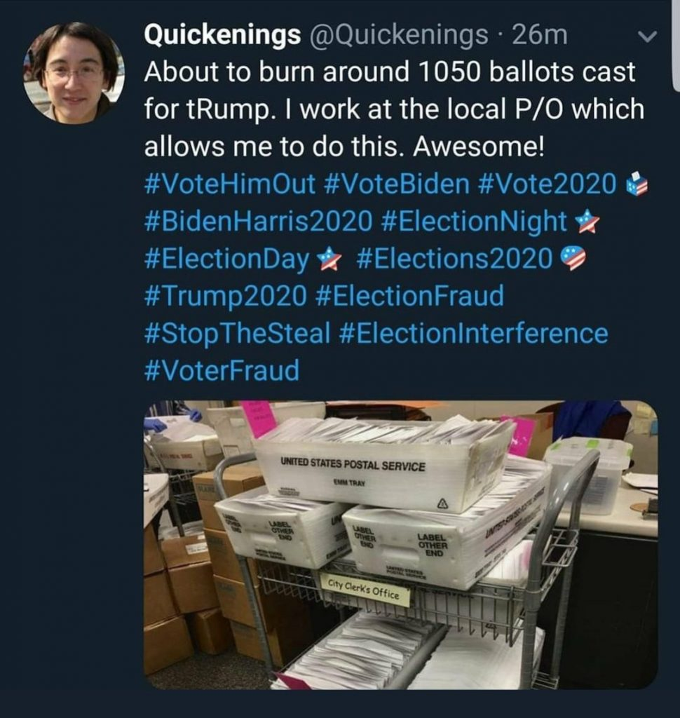 Twitter User Bragging About Burning 1050 Ballots