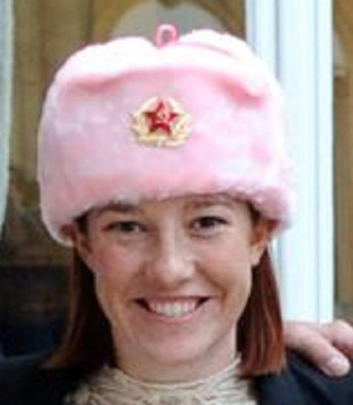 Biden's WH Press Secretary Jen Psaki Wearing Pink Communist Ushanka 2