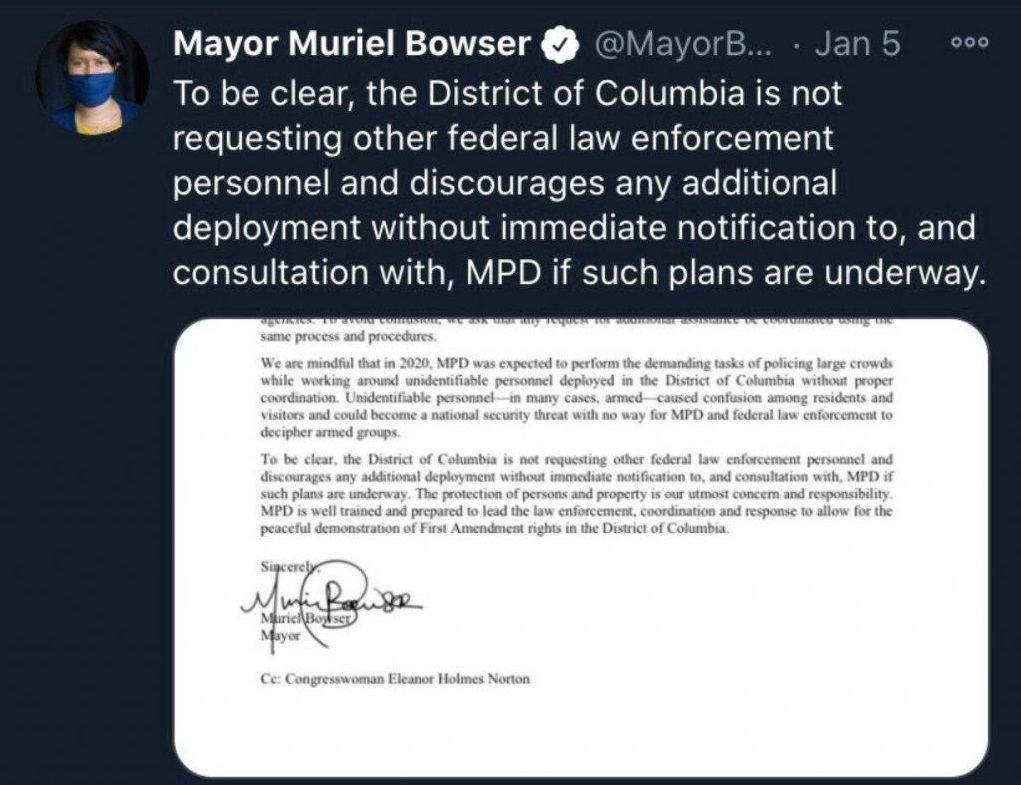 Mayor Muriel Bowser DC Not Requesting Feds