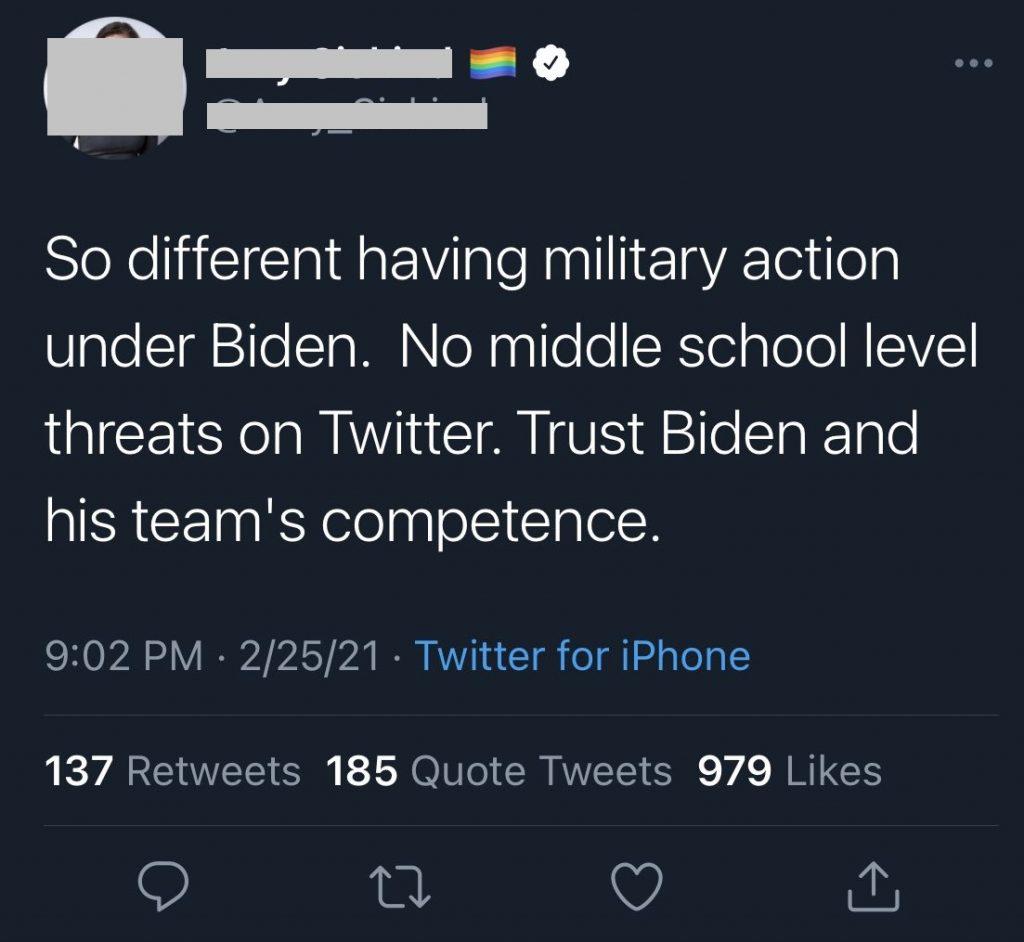 Twitter Users Celebrating Biden Bombing Syria 1