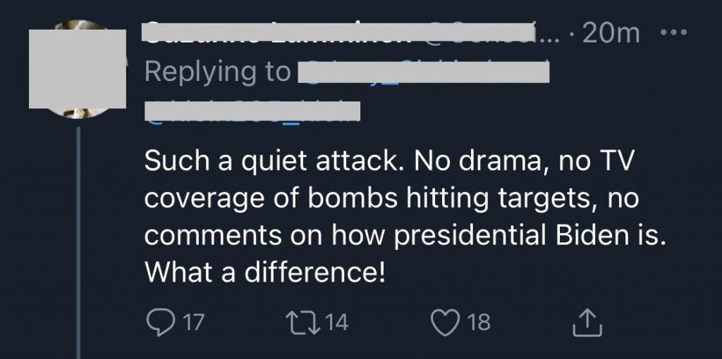 Twitter Users Celebrating Biden Bombing Syria 2