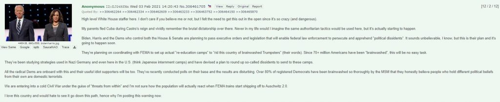 White House Staffer FEMA Re-education Camps Message 4chan