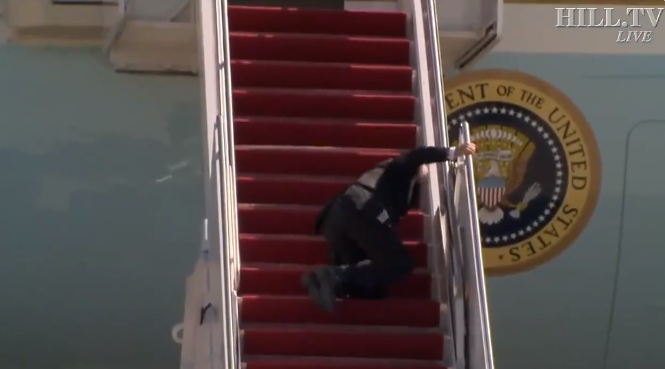 President Joe Biden Falls On Air Force One Stairs
