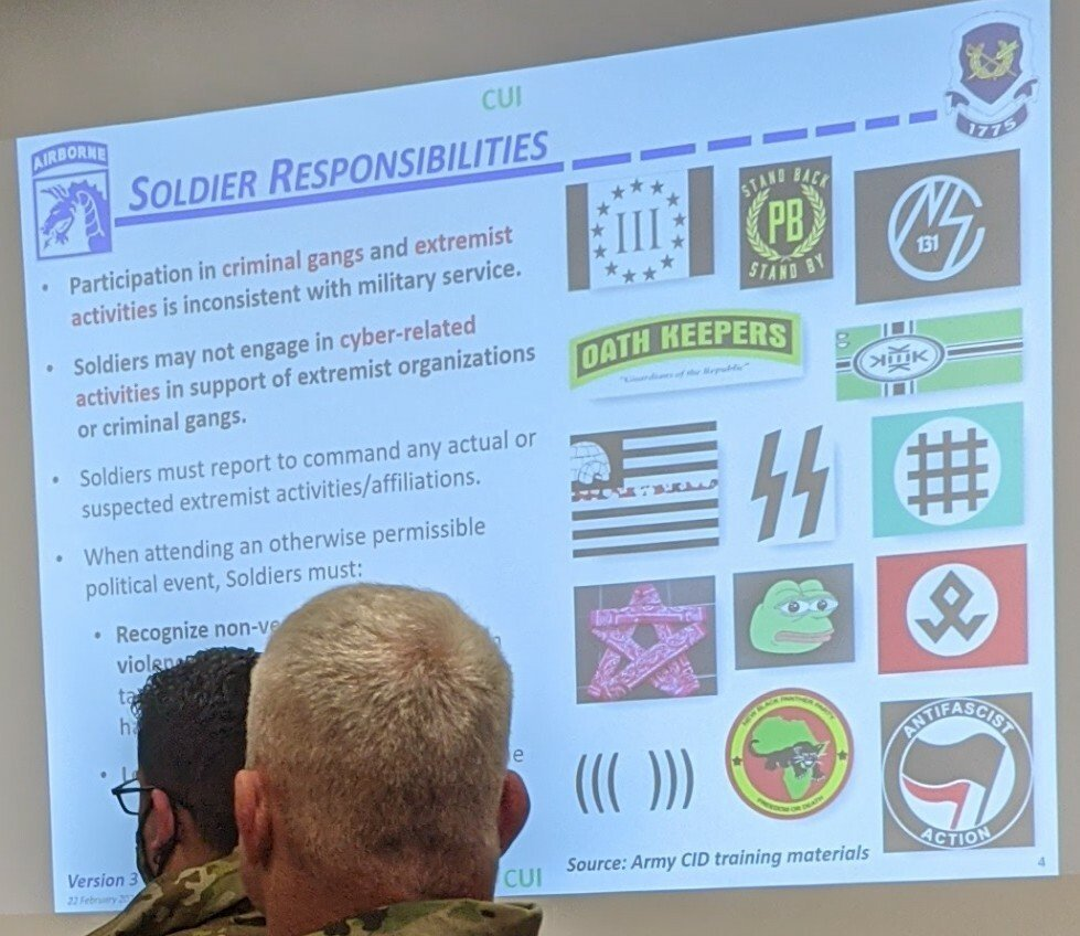 US Army Military Soldier Responsibilities Training Extremist Activities