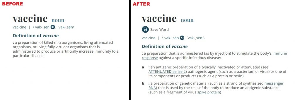 Merriam Webster Dictionary Vaccine Definition Change Before And After
