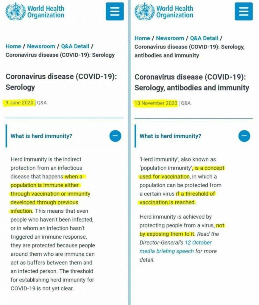 World Health Organization WHO Herd Immunity Definition Change